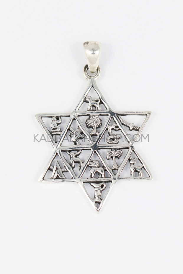 12 Tribes Star Of David Pendant Necklace 925 Sterling Silver
